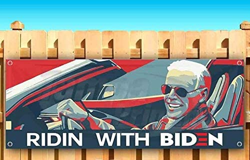 Ridin with Biden Banner Vinyl Weatherproof 15,18,20,24,30 lb Advertising Flag Front Banner Business Sign Retail Store 30 in