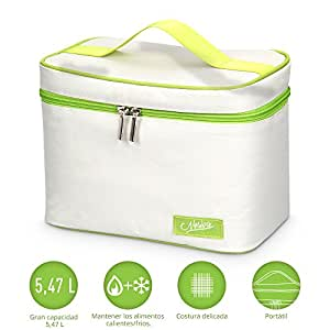 Bolsas de Almuerzo-Bolsa Termica para Llevar Comidas Bolsa Porta Alimentos Nevera Portátil 23x17x14cm,Color Beige y Verde
