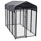 Image of Heavy Duty Dog Cage - Lucky Dog Outdoor Pet Playpen - This Pet Cage is Perfect For Containing Small Dogs and Animals. Included is a Roof and Water-Resistant Cover (4'W x 8'L x 6'H)