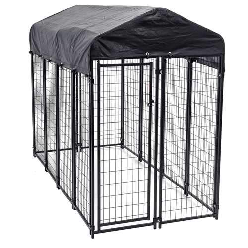 Heavy Duty Dog Cage - Lucky Dog Outdoor Pet Playpen - This Pet Cage is Perfect For Containing Small Dogs and Animals. Included is a Roof and Water-Resistant Cover (4'W -