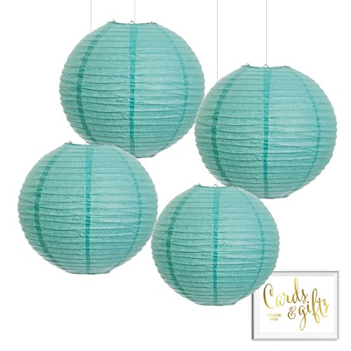 Andaz Press Hanging Paper Lantern Party Decor Kit with Free Party Sign, Diamond Blue, 8-inch, 4-Pack, For Robin's Egg Blue Engagement Bridal Shower Wedding Decorations
