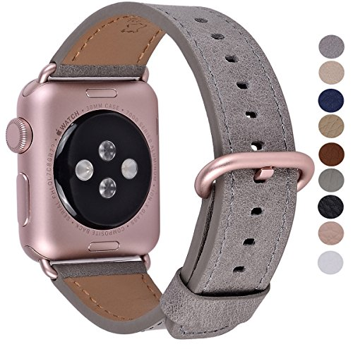 (PEAK ZHANG for Apple Watch Band 38mm, Women Gray Vintage Leather Replacement Iwatch Strap with Rose Gold Adapter and Buckle for Apple Watch Series 3 2 1 Sport Edition)