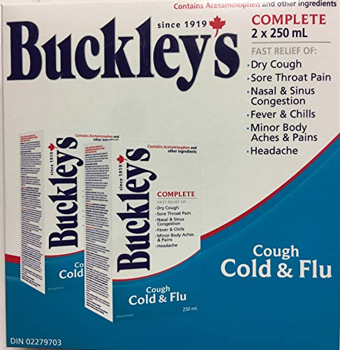 BUCKLEY'S Complete Cough Cold and Flu 250ML Bottle 2 Pack Fast Relief of Dry Cough, Sore Throat, Fever & Chills