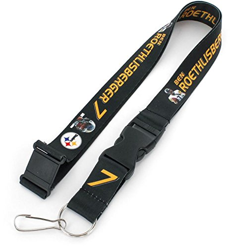 aminco NFL Pittsburgh Steelers Ben Roethlisberger Players Action Lanyard (Roethlisberger Ben Blanket)