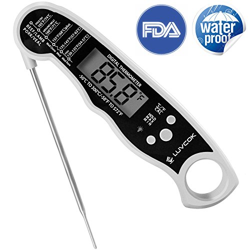 Meat Thermometer Food Thermometer Digital Candy Thermometer Oven Thermometer Luvcok Waterproof Instant Read Cooking Thermometer, for Kitchen BBQ Grill Smoker, White