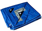 10' L X 14' W -Tent Shelter Tarp Cover Waterproof Tarpaulin Plastic Tarp Protection Sheet for Contractors, Campers, Painters, Farmers, Boats, Motorcycles, Hay Bales - Hercules Tarp - Blue/Silver
