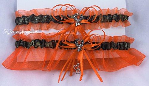 [Mossy Oak Satin Camo & Orange Garter Set with Deer] (Mossy Deer Camo)