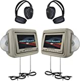 Power Acoustik HDVD-9BG 8.8-Inch Pre-Loaded Universal Headrest Monitors with Twin DVD Combo and Headphones (Beige)