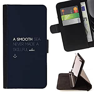Ihec-Tech / Negro Flip PU Cuero Cover Case para Samsung Galaxy S5 V SM-G900 - Motivation Blue Anchor
