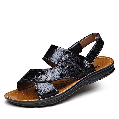 Xing Lin Sandalias De Verano Las Zapatillas De Playa Casual _ Verano Nuevo Sandalias De Cuero De Los Hombres Casual Calzado De Playa Conjuntos De Doble Uso Piernas Frescas black
