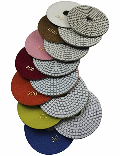 h Wet Polishing Pads for Granite Concrete Marble Travertine Terrazzo Engineered Stone (Pack of 7) ()