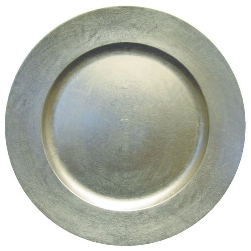 Lacquer Charger - Entertaining with Caspari 13-inch Lacquer Charger, Silver, 1-Count