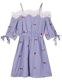 Rainstar Women's Plus Size Off Shoulder Stripe Summer Dress with Floral Print
