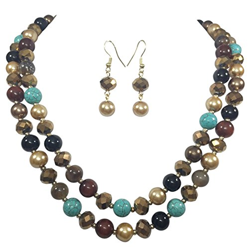 2 Row Layered Imitation Pearl Beaded Necklace And Earrings Set (Imitation Turquoise & Brown)