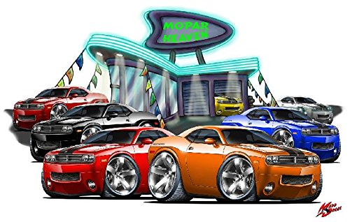 2009 Challenger MOPAR Heaven WALL DECAL 2ft long Reusable Movable Plymouth Classic Cars America Vintage Vinyl Print Stickers (Reusable Car Wall Decal)