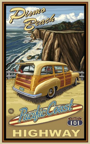 Northwest Art Mall Pismo Beach Pacific Coast Highway 101 Woodie Artwork by Paul A. Lanquist, 11-Inch by - Pismo Coast