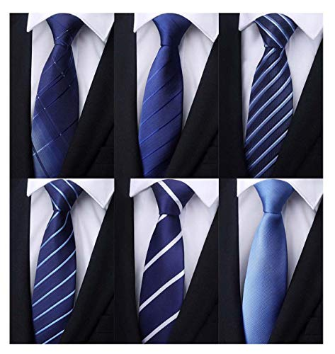 Weishang Pack of 6 Men's Classic Tie Silk Necktie Woven Jacquard Neck Ties (Set - Tall Silk Tie Big And
