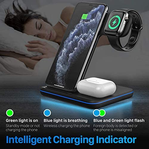 Wireless Charging Station, 3 in 1 Qi Charger for Apple Watch 1/2/3/4/5/SE/6 Airpods 2/professional Wireless Charger for iPhone 12/11/11 Pro/11 Pro Max/XS Max/XS XR Plus Samsung S10 S9 S8 S7