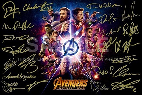 Avengers Poster Infinity War Signed PP by 22 RDJ, Stan Lee, Chris Pratt, Tom Hiddleston, Chris Hemsworth, Chris Evans, Black Panther, Spiderman, Captain America, Iron Man 12x8 Inch Photo Gift 5 Star Prints