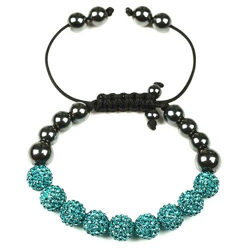 Shamballa Swarovski Octant Crystal Jewellery Beads Friendship Bracelet - Turquoise, Janeo Jewels