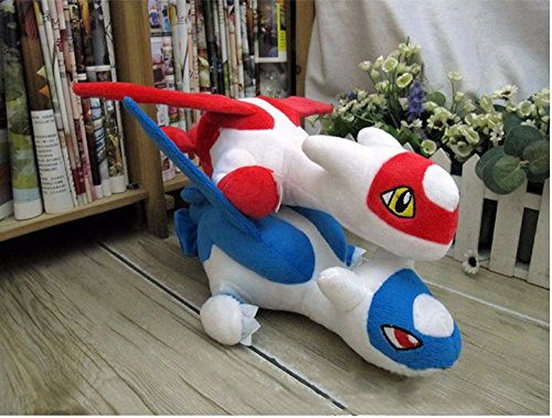 TONGROU 2pcs Latios Latias Soft Plush Stuffed Animal Toy Doll Kids Birthday Gift