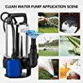 PEATAO 1.5 HP Stainless Steel Submersible Sump Pump Clean Dirty Water Pump with 15ft Cable and Float Switch 1100W (US STOCK)