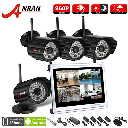ANRAN 4CH 960P HD WIFI NVR 12Inch LCD Monitor Outdoor Wireless Security System with 4pcs Megapixel Day Night IR IP Network Cameras Plug Play No Hard Drive