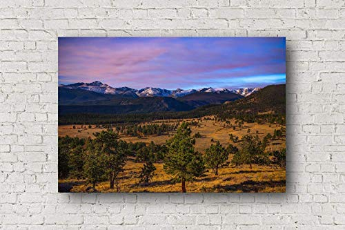 Moonlight Photo (Rocky Mountain National Park Canvas Wall Art - Picture of Mountains in Moonlight Near Estes Park Colorado Western Home Decor 8x10 to 30x40)