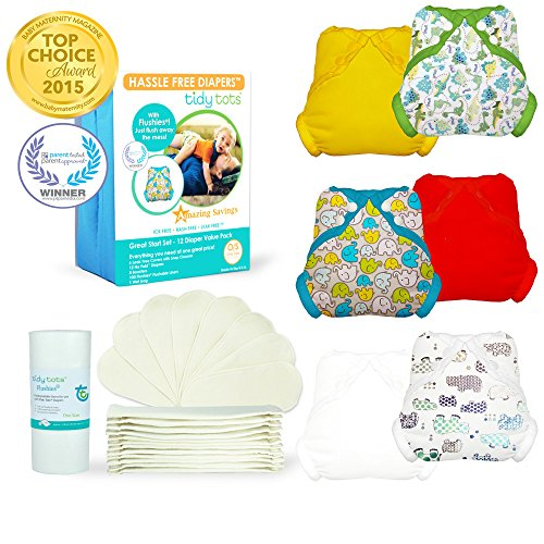 Tidy Tots Diapers Hassle Free 12 Diaper Snap Great Start Set With Dinosaur, Elephant, Hippo, Marigold, Red, and White Covers