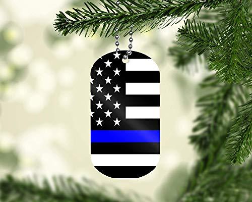 Dog Tag Ornament - Thin Blue Line Stars Christmas Ornament 4