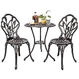 Patio Cast Outdoor Aluminum Furniture Tulip Design Bistro Set in Antique Copper --P#EWT43 65234R3FA439712