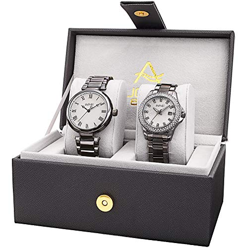 August Steiner His and Hers Watch Set - Two Matching Men's and Women's Watches - Grey Gunmetal Tone Stainless Steel Link Bracelet Bands, Gift Box - - Watch Set Hers