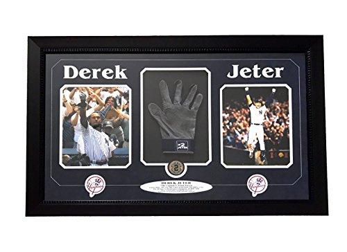 DEREK JETER GAME USED GLOVE 8X10 FRAME COLLAGE W/USED DIRT STEINER COA YANKEES from Inscriptagraphs