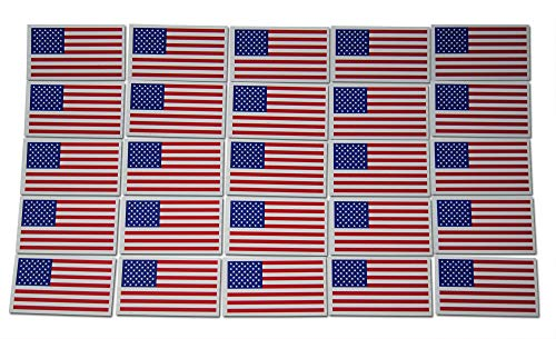 Small American Flag Patriotic Military Magnets Set includes Twenty-Five Mini Rectangles in Classic Red, White, Blue US Design (25 Pieces) ()