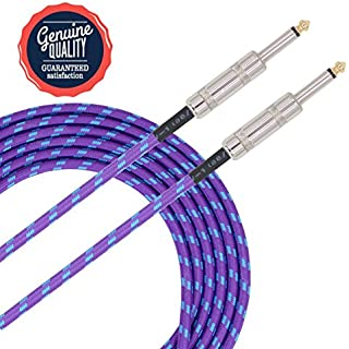 Sonobono Professional Noiseless Music Instrument Cable 1/4-Inch Straight with Braided Tweed Woven Jacket for Guitar, Bass Guitar, AMP, and Keyboard (6m/20 Feet, Violet Blue)