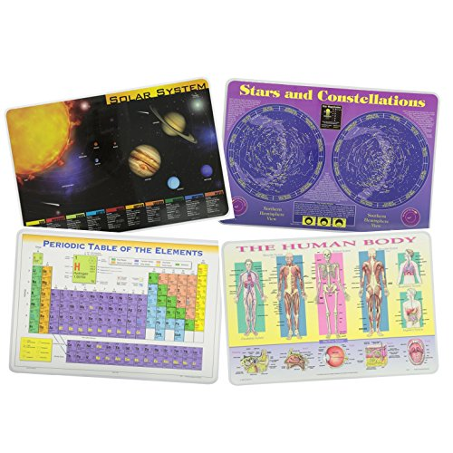 Painless Learning Educational Placemats Sets Solar System, Stars and Constellations, Human Body and Periodic Table Placemat Non Slip Washable