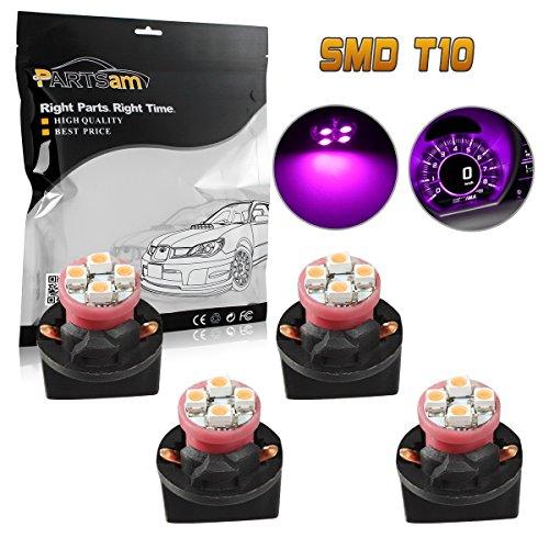 (Partsam 4pcs Pink Purple T10 Miniature Wedge PC194 168 W5W LED Light Bulb 4-SMD Instrument Panel Gauge Cluster Dash Lighting Indicator Lamps W/Twist Lock Sockets 13mm Hole Dimater)