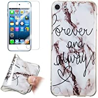 for iPod Touch 5/6 Marble Case and Screen Protector,Unique Pattern Design Ultra Thin Slim Fit Soft Silicone Phone Case Bumper,QFFUN Shockproof Anti-Scratch Protective Back Cover - Words