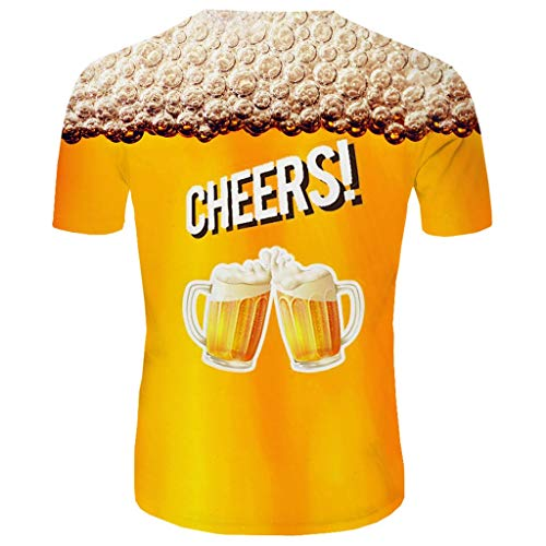Men's Summer Top 3D Beer Printed Short Sleeves Comfort Blouse]()