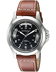 Hamilton Mens H64455533 Khaki King Series Stainless Steel Automatic Watch with Brown Leather Band