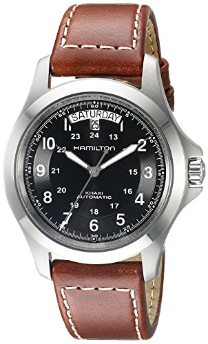 (Hamilton Men's H64455533 Khaki King Series Stainless Steel Automatic Watch with Brown Leather Band)