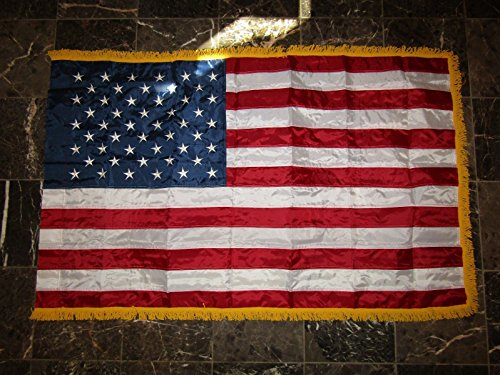 3'X5' Embroidered Sewn US USA AMERICAN Flag 3'x5' INDOOR Pole Sleeve GOLD FRINGE