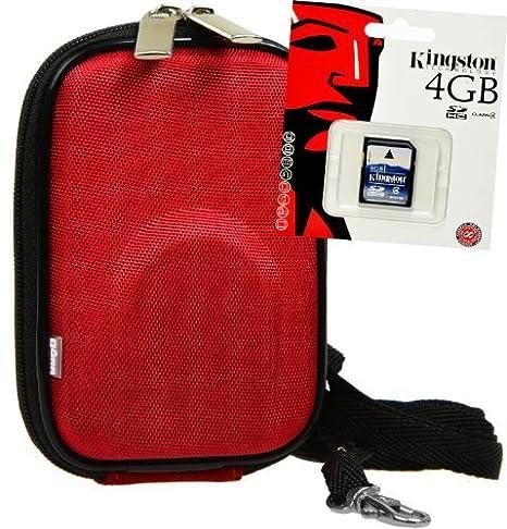 Pack de Ahorro - Foto-Funda rígida con 4 GB Tarjeta SD, Rojo ...