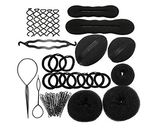 JZK® Bun maker roller braid twist sponge bumpits pad donut elastics U hair pin hair band hair design styling set tools accessories kit, black