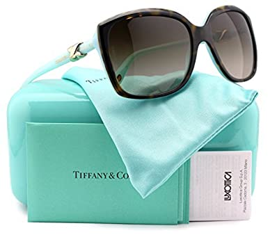 8fdb4de5003cb Image Unavailable. Image not available for. Color  Tiffany   Co. TF4076 Sunglasses  Havana Blue w Brown ...