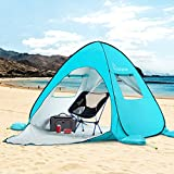 WolfWise UPF 50+ Easy Pop Up 3-4 Person Large Beach Tent Sun Shelter Umbrella Baby Canopy Portable Sun Shade Instant Tent