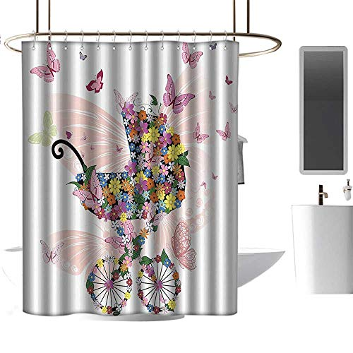 homehot Shower Curtains Golden Retriever Butterflies Decoration Collection,Stroller of Flowers and Butterflies Carriage Cart Celebration Birth Happiness Image,Pink,W72 x L72,Shower Curtain for Men