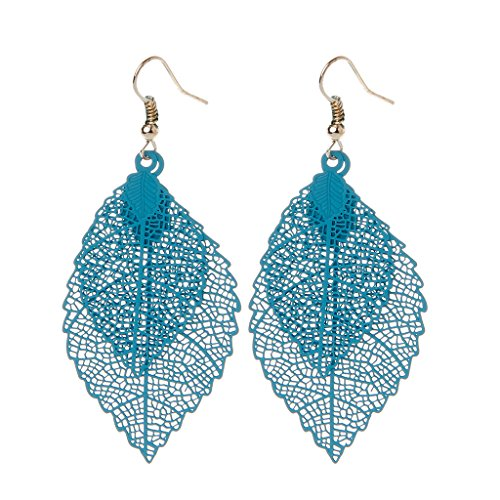 (Kofun Earrings, Boho Double Leaf Dangle Earrings Women Vintage Long Tassels Drop Jewelry Blue)