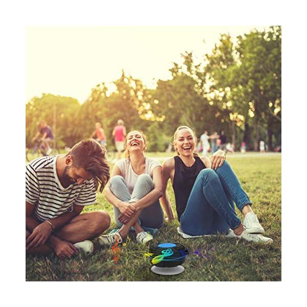 PEYOU Enceinte Bluetooth Portable,Étanche Haut-Parleur de Douche sans Fil IPX7 Parleur à Voix Haute stéréo de Bluetooth 4.2 avec Batterie 400mAh,Ventouse puissante,pour la Plage,Piscine et Cuisine 6