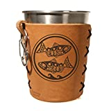 Fish Life: Leather Steel Pint Sleeve / Holder/ CupsCo Stainless Cup Set / Oowee Cup…